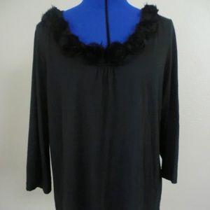 Chico's Women's Size 3  Black Top Blouse ScoopNecK